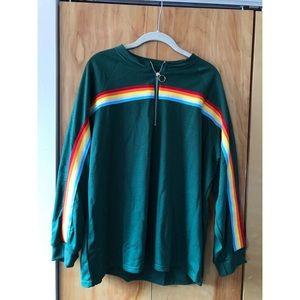 Tops - Plus Quarter Zip Rainbow Striped Sweatshirt